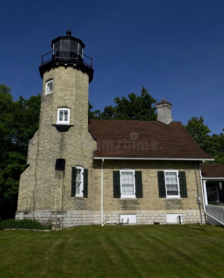 White River Lighthouse. This is a Summer picture of the White River Lighthouse on Lake Michigan located in Whitehall, Michigan in Muskegon County. This brick royalty free stock photos