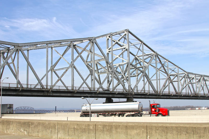 White Roadway River Bridge. White steel, truss roadway river bridge royalty free stock images