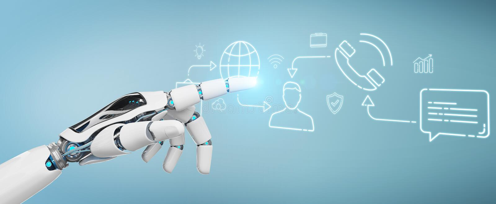 White robot controlling social network icons interface. White robot on blurred background controlling social network icons interface royalty free illustration