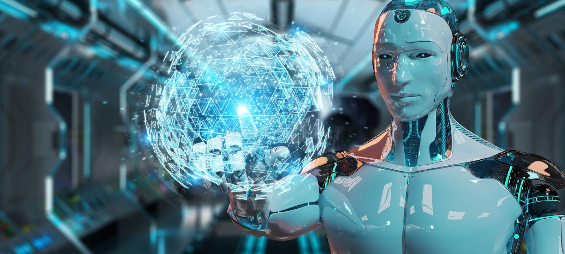 White robot using digital triangle exploding sphere hologram 3D. White robot on blurred background using digital triangle exploding sphere hologram 3D rendering royalty free illustration