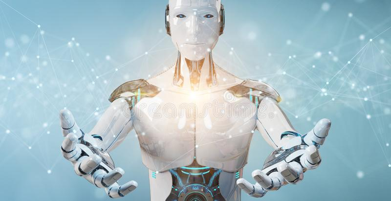 White robot using floating digital network connections with dots and lines 3D rendering. White robot on blurred background using floating digital network stock illustration