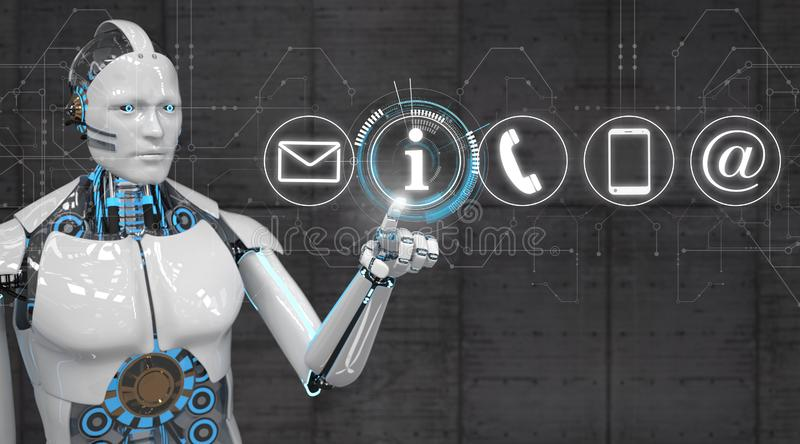 White Robot Click Contact Icons stock illustration