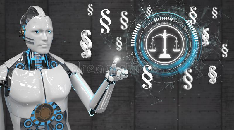 White Robot Click Justice Scale Paragraphs Network stock illustration