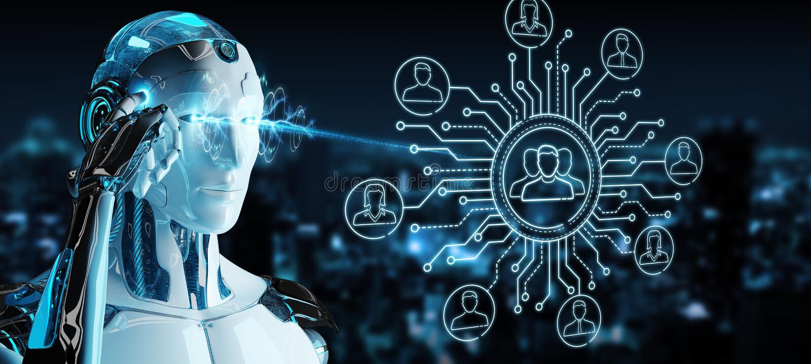 White robot controlling social network icons interface stock illustration