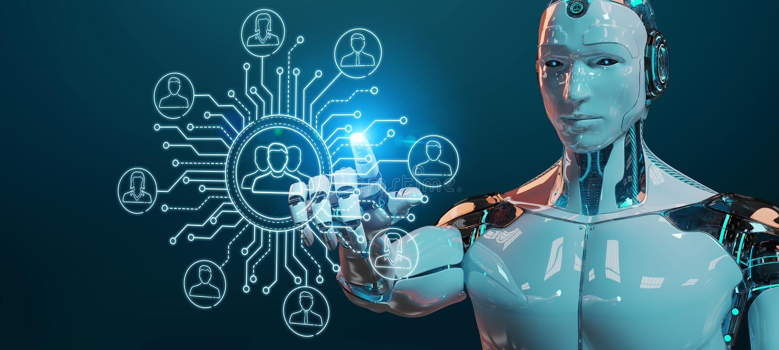 White robot controlling social network icons interface. White robot on blurred background controlling social network icons interface stock illustration