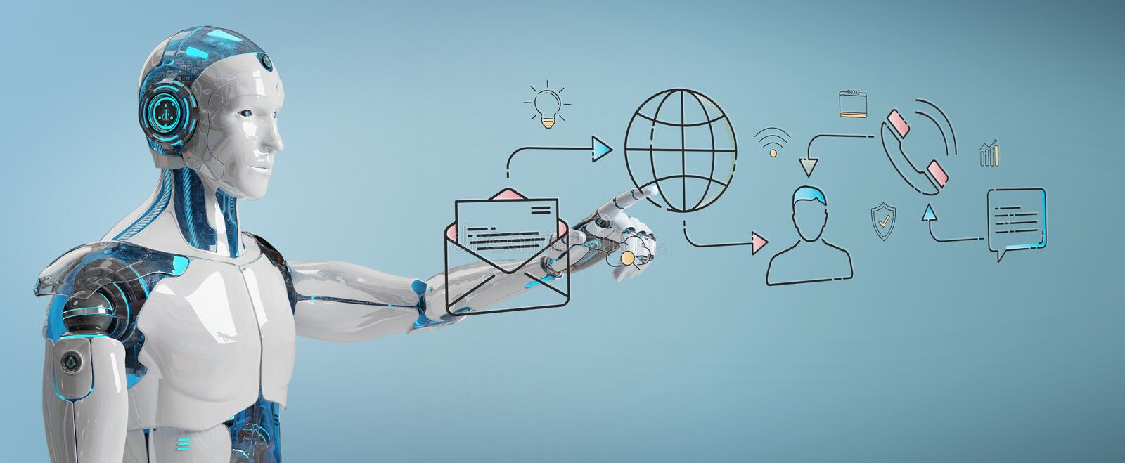 White robot controlling social network icons interface. White robot on blurred background controlling social network icons interface vector illustration