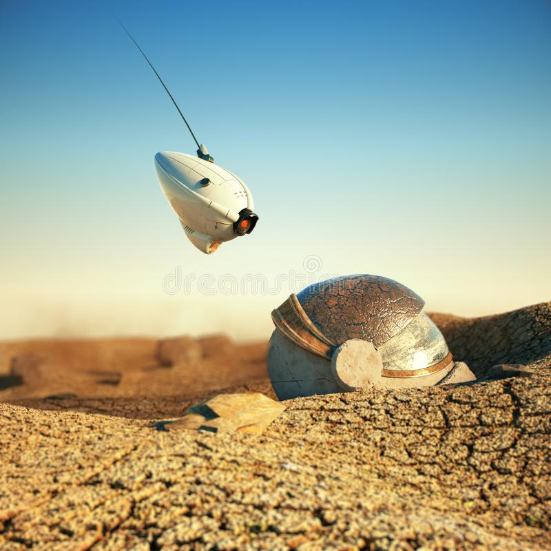 White robot drone hovering over obsolete space helmet in cracked desert on other planet. sci-fi concept 3d render royalty free illustration