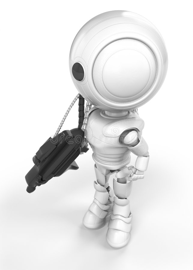 White Robot With Gun Or Tool Stock Photography