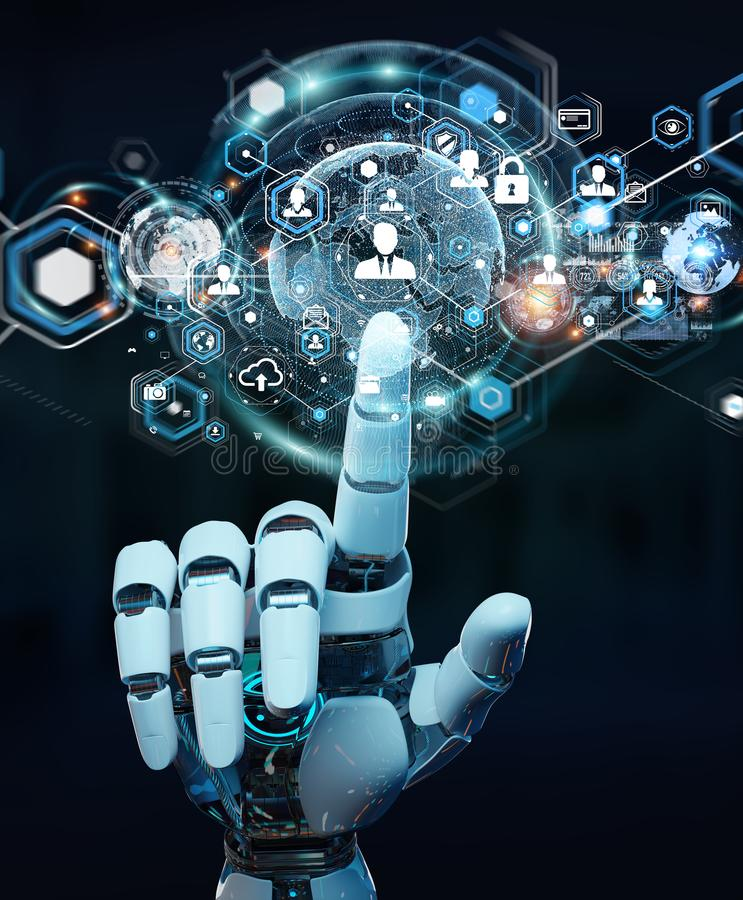 White robot hand using digital screen interface 3D rendering. White robot hand on blurred background using digital screen interface 3D rendering stock illustration