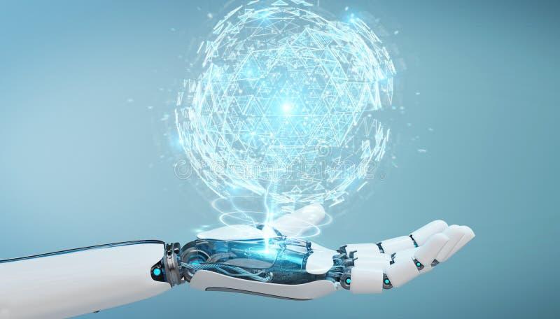 White robot hand using digital triangle exploding sphere hologram 3D rendering. White robot hand on blurred background using digital triangle exploding sphere stock illustration