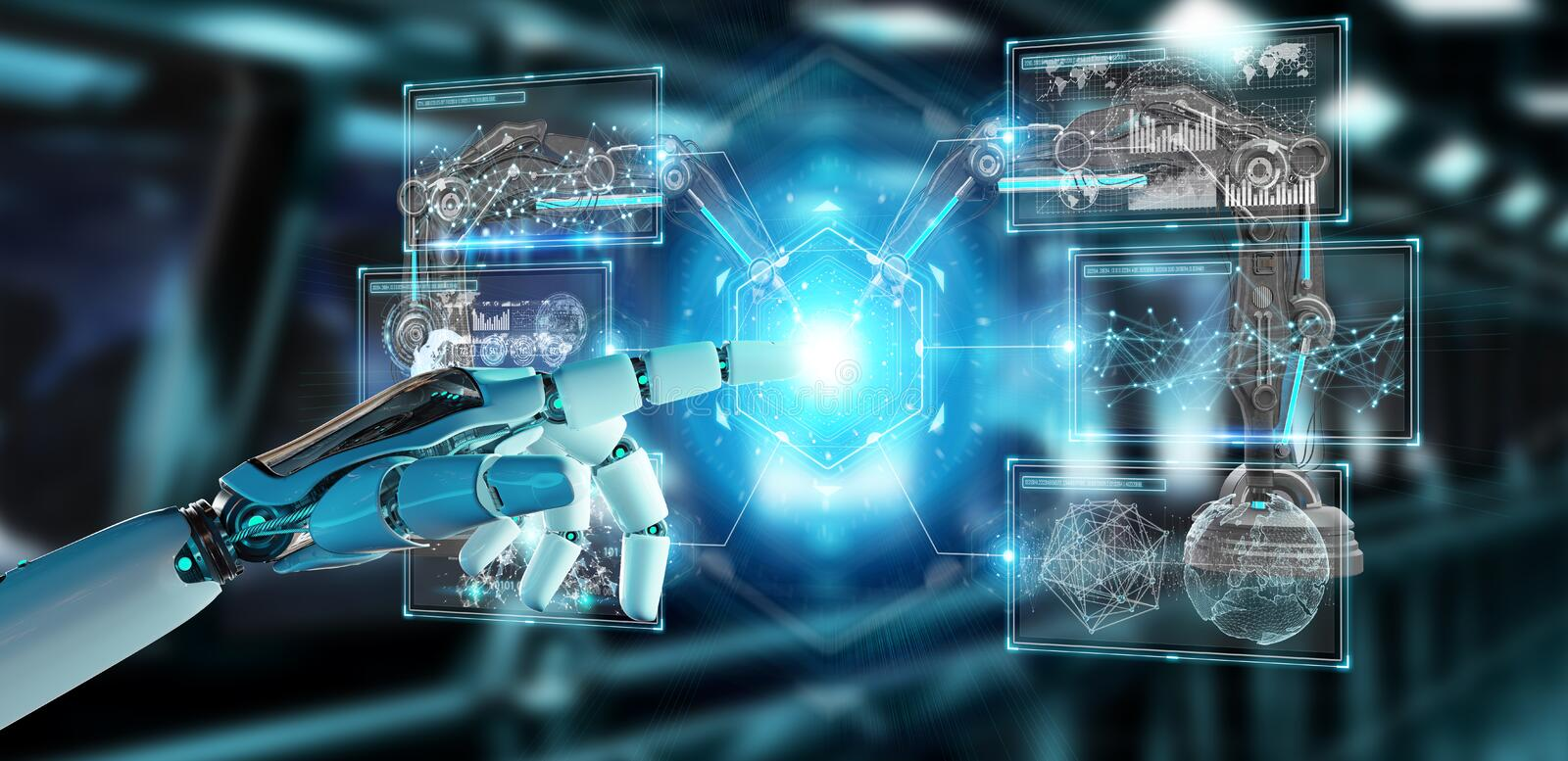 White robot hand using robotics arms with digital screen 3D rend vector illustration
