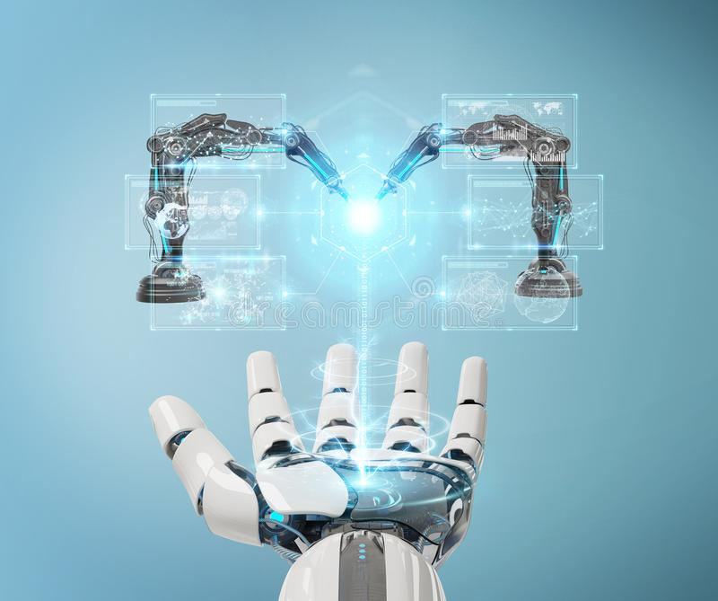 White robot hand using robotics arms with digital screen 3D rendering vector illustration