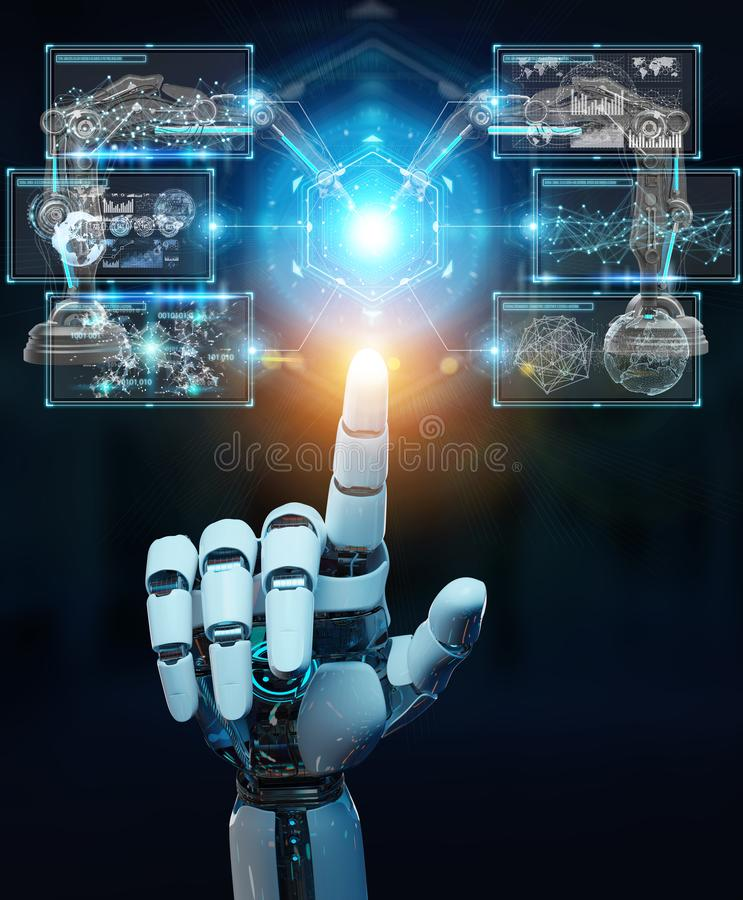 White robot hand using robotics arms with digital screen 3D rendering royalty free illustration