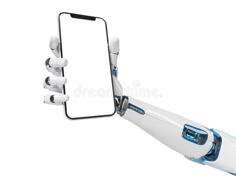 White robot hand holding smartphone mockup 3d rendering stock illustration