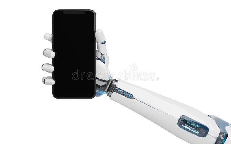 White robot hand holding smartphone mockup 3d rendering royalty free illustration