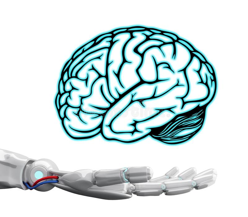 White robot hand holding virtual brain. White robot hand holding virtual brain isolated on white. Artificial Intelligence concept. 3d rendering stock photos