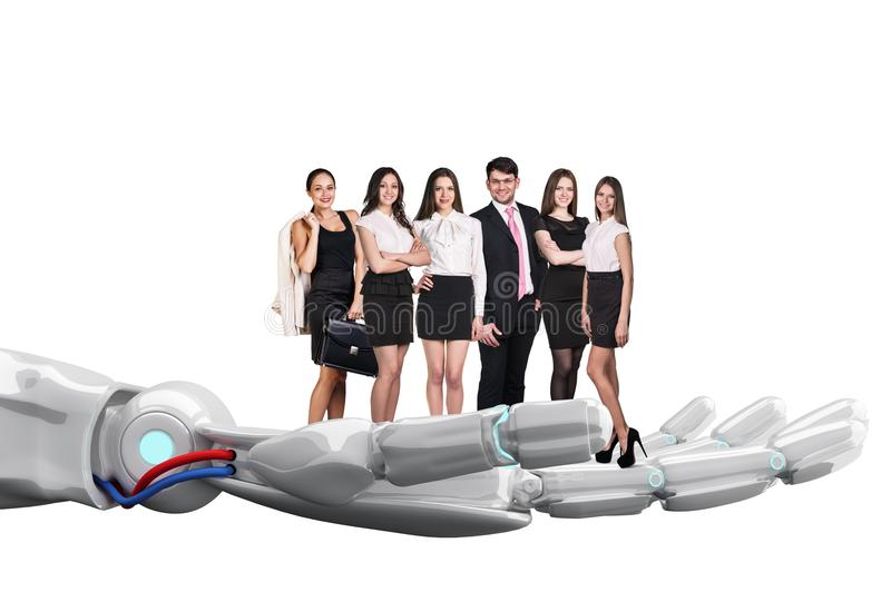 Robotic hand holds group of business people. 3d rendering stock photos