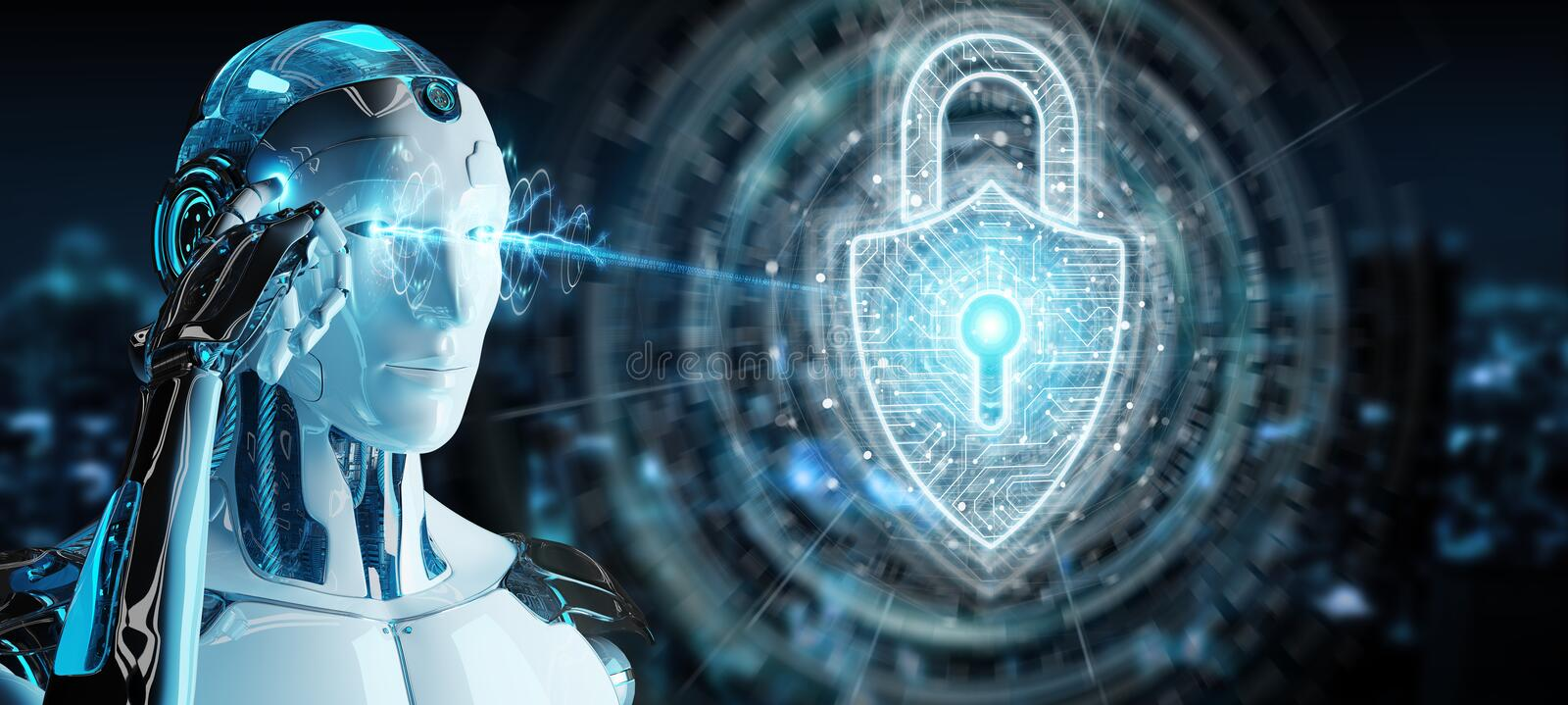 White robot protecting datas with digital security padlock hologram 3D rendering vector illustration