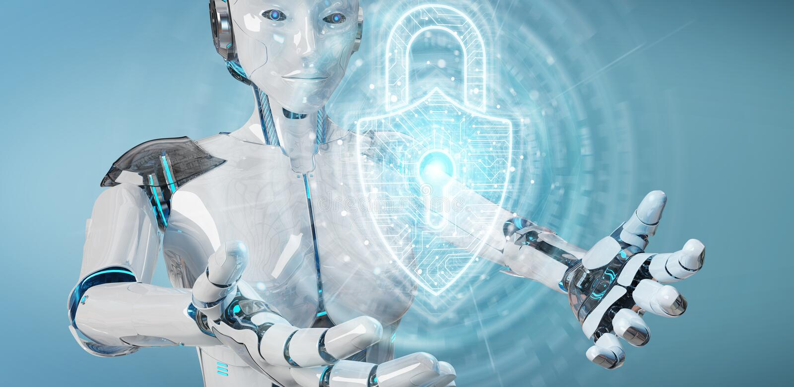 White robot protecting datas with digital security padlock hologram 3D rendering stock illustration