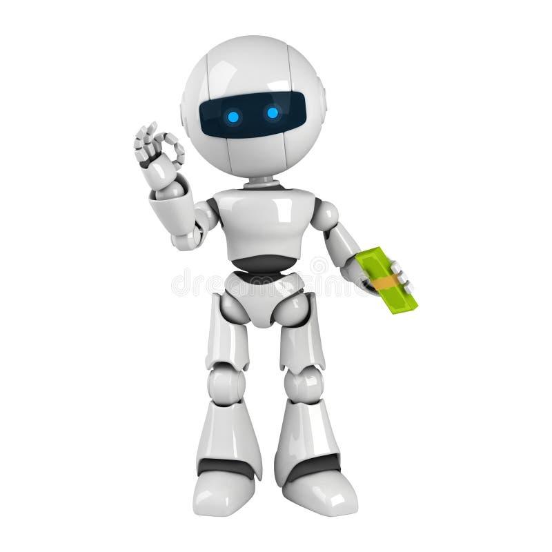 White robot stay dollars stock illustration