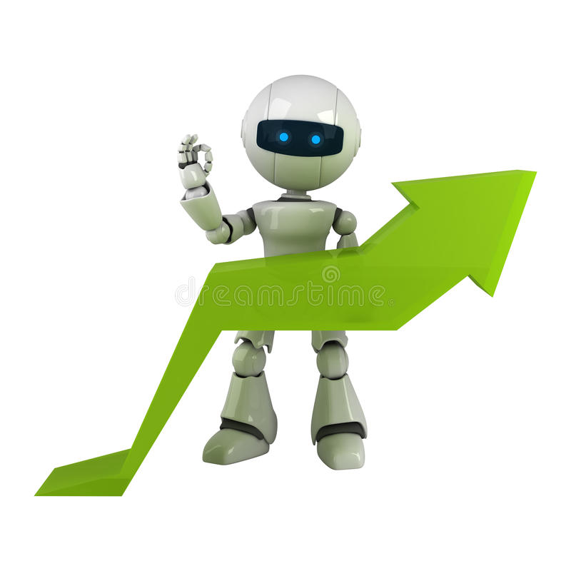 White robot stay with graph arrow royalty free illustration