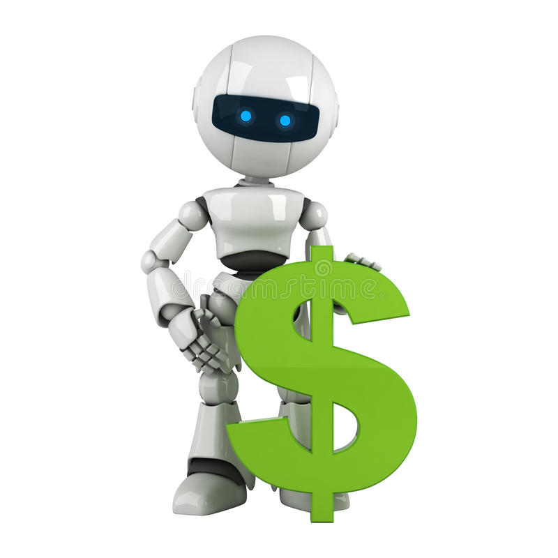 Download White Robot Stay With Green Dollar Stock Illustration - Image: 19893021
