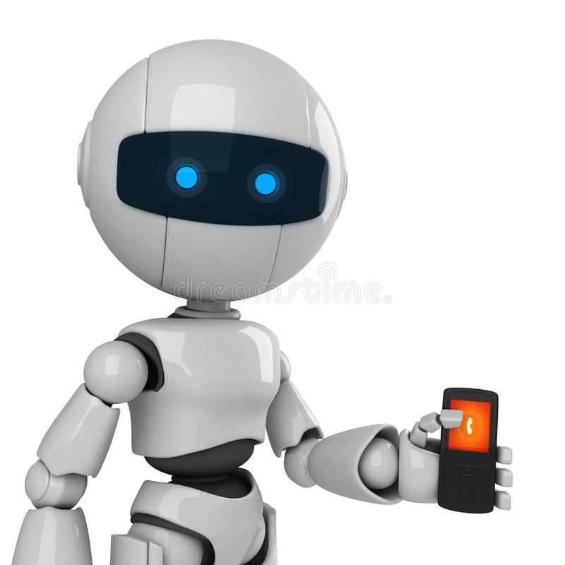 White robot stay with mobile phone royalty free illustration