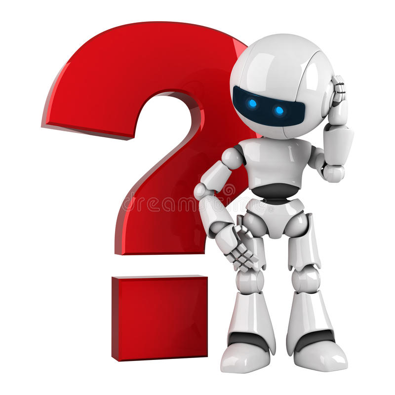 White robot stay with red question stock illustration