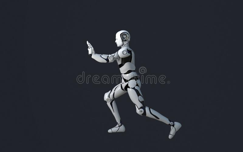White robot technology that is pushing something. technology in the future, on a black background stock illustration