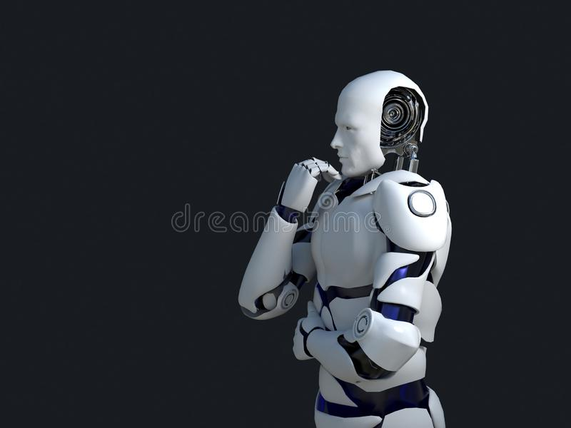 White robot technology that is thinking and indeed its chin. technology in the future, on a black background.  royalty free illustration