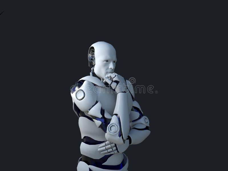 White robot technology that is thinking and indeed its chin. technology in the future, on a black background stock illustration