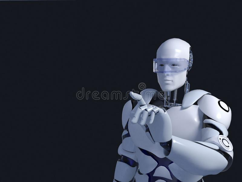 White robot technology that is thinking and indeed its chin. technology in the future, on a black background. White robot technology which is pointing to stock illustration