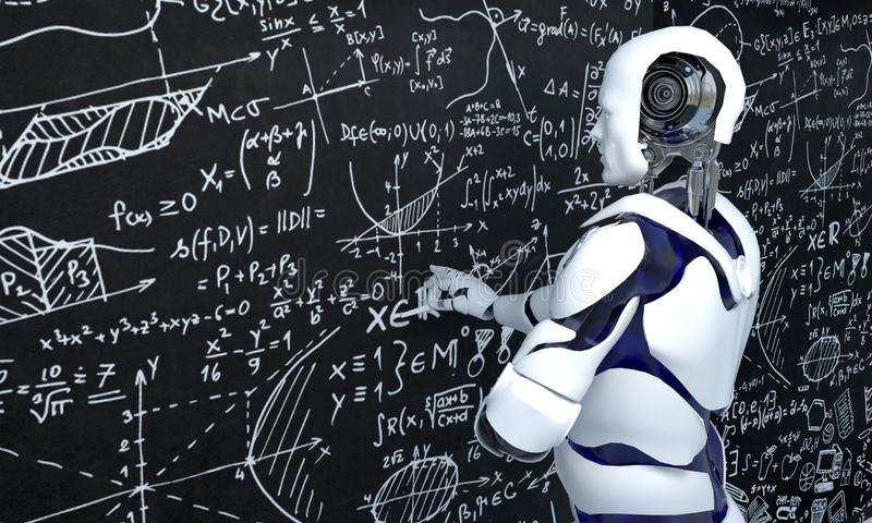 White robot technology is working on mathematics, chemistry, biology, science royalty free illustration