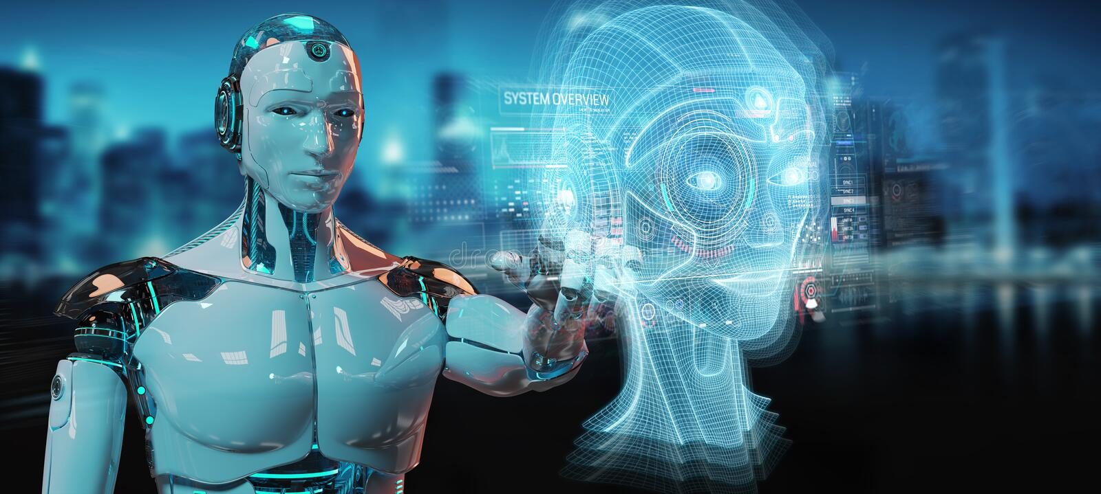 White robot  using digital artificial intelligence head interface 3D rendering. White robot on blurred background using digital artificial intelligence head stock illustration