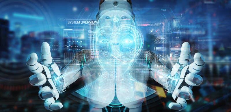 White robot  using digital artificial intelligence head interface 3D rendering. White robot on blurred background using digital artificial intelligence head stock illustration