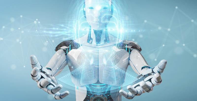 White robot  using digital artificial intelligence head interface 3D rendering. White robot on blurred background using digital artificial intelligence head vector illustration