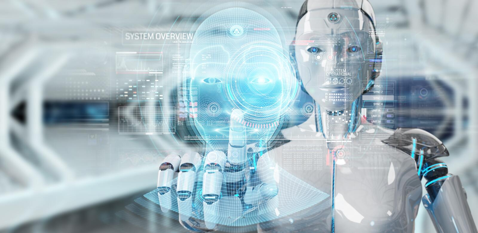 White robot  using digital artificial intelligence head interface 3D rendering. White robot on blurred background using digital artificial intelligence head royalty free illustration