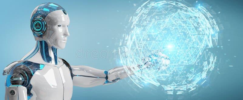 White robot using digital triangle exploding sphere hologram 3D. White robot on blurred background using digital triangle exploding sphere hologram 3D rendering stock illustration