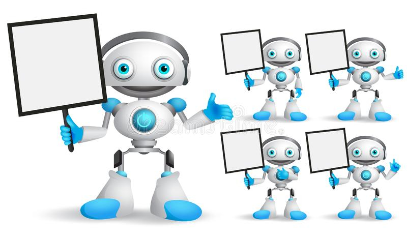 White robot vector character set standing while holding blank placard. For text and technology information for design presentation. Android mascot vector stock illustration