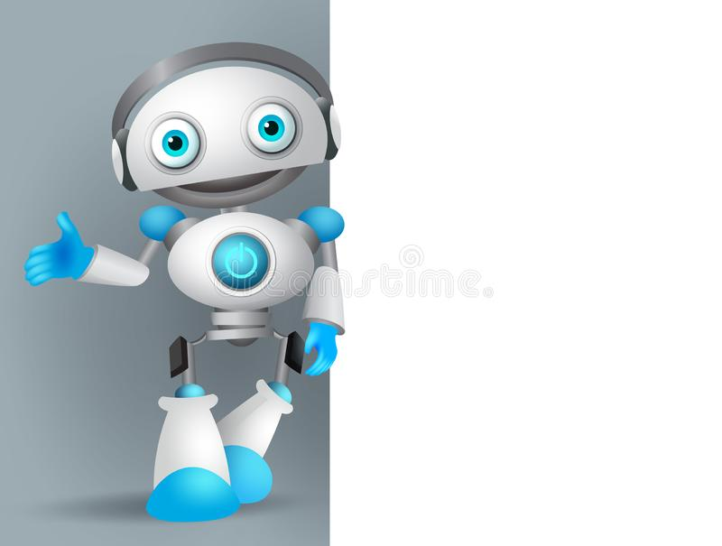 White robot vector character standing while speaking with while empty blank board. For text and information for design presentation. Vector illustration vector illustration