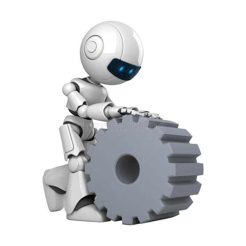 Download White Robot Walk With Cogwheel Stock Images - Image: 19714244