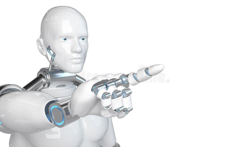 White robot woman on blurred background using digital triangle exploding sphere hologram 3D rendering - Illustration royalty free illustration