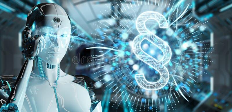 White robot woman using law paragraph digital hologram 3D render royalty free illustration