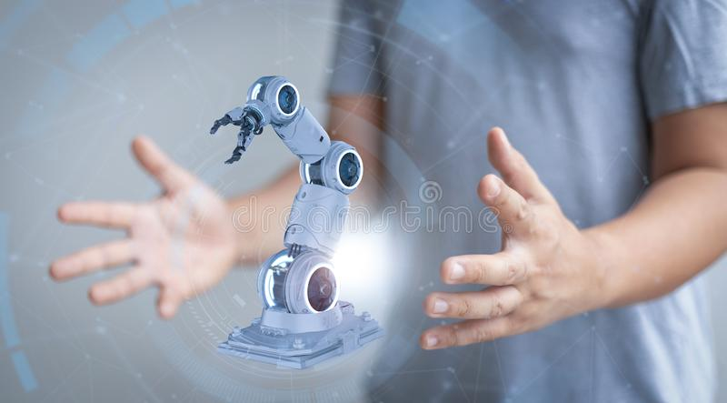 White robotic arm vector illustration