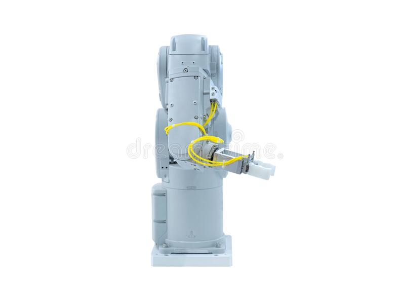 Robotic arm machine, Industry 4.0 Robot concept .The robot arm is working smartly in the production department on white background. White robotic arm isolated on royalty free stock photo