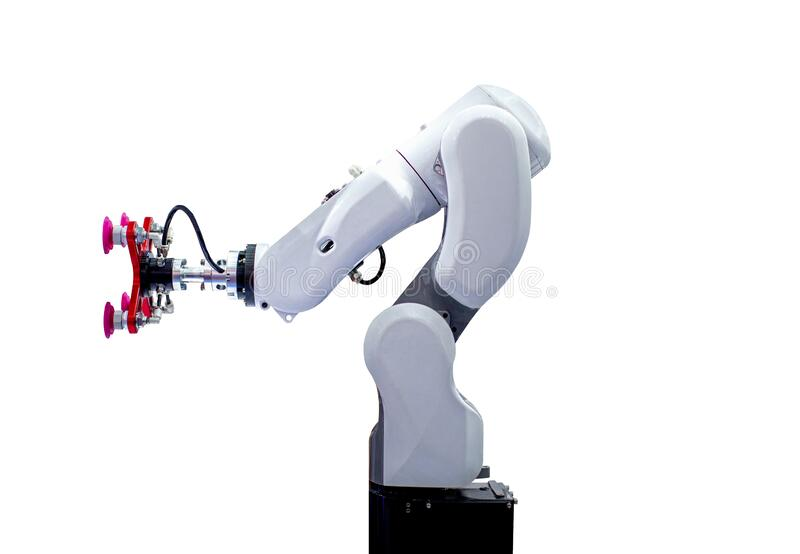 Robotic arm machine, Industry 4.0 Robot concept .The robot arm is working smartly in the production department on white background. White robotic arm isolated on royalty free stock photography