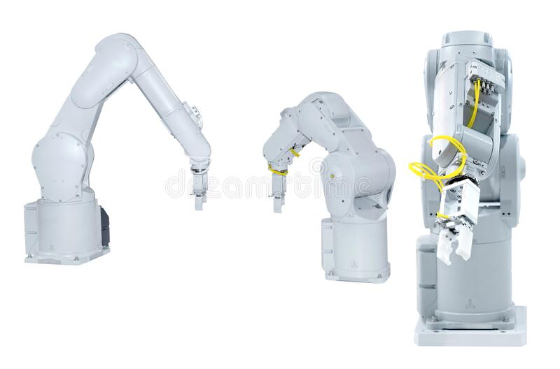 Robotic arm machine, Industry 4.0 Robot concept .The robot arm is working smartly in the production department on white background. White robotic arm isolated on royalty free stock image