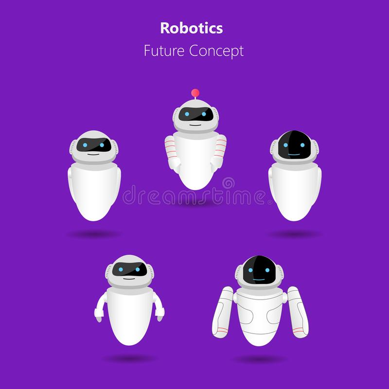 White robots. Set of white robots icons on violet background. Robotics, future concept. Vector illustration stock illustration