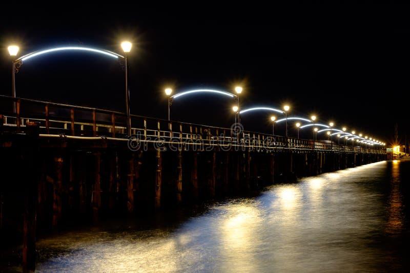 White rock bc pier at night stock image