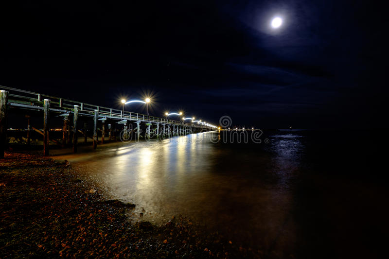 White rock bc pier at night stock images